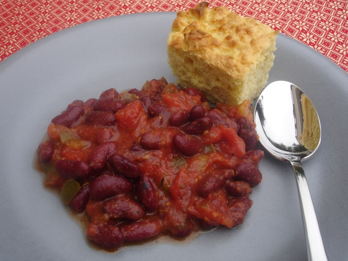 Chili sin carne et pain de maïs