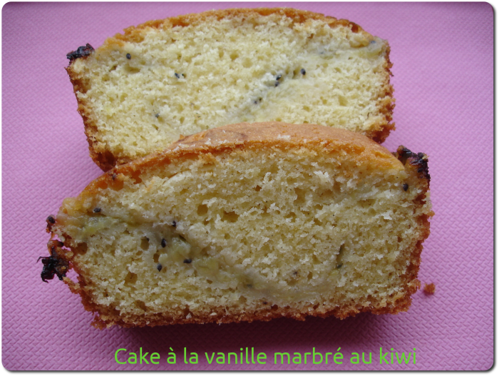 Cake à la vanille marbré au kiwi