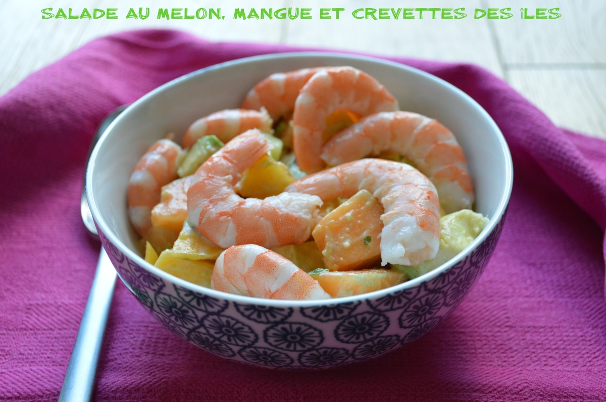 salade au melon mangue et crevettes des les plaisir et equilibre. Black Bedroom Furniture Sets. Home Design Ideas