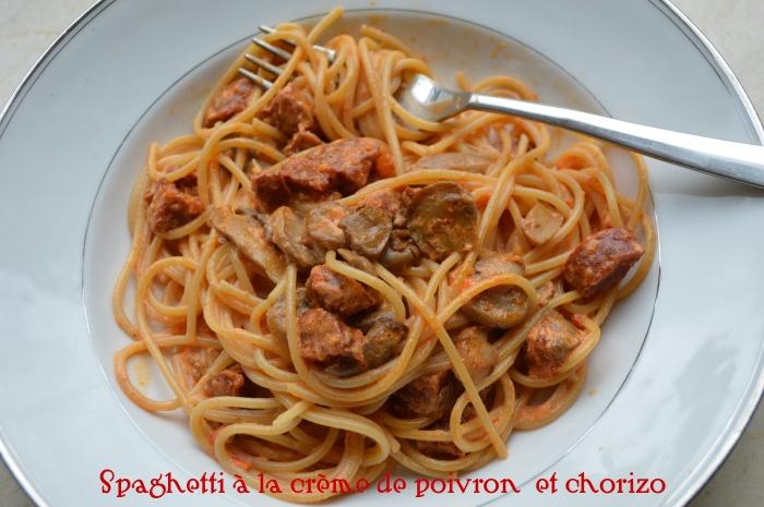 Spaghetti à la crème de poivron et chorizo