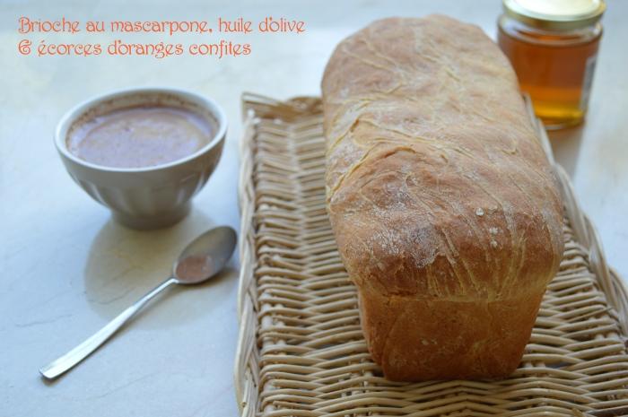 Brioche au mascarpone, huile d'olive & écorces d'oranges confites