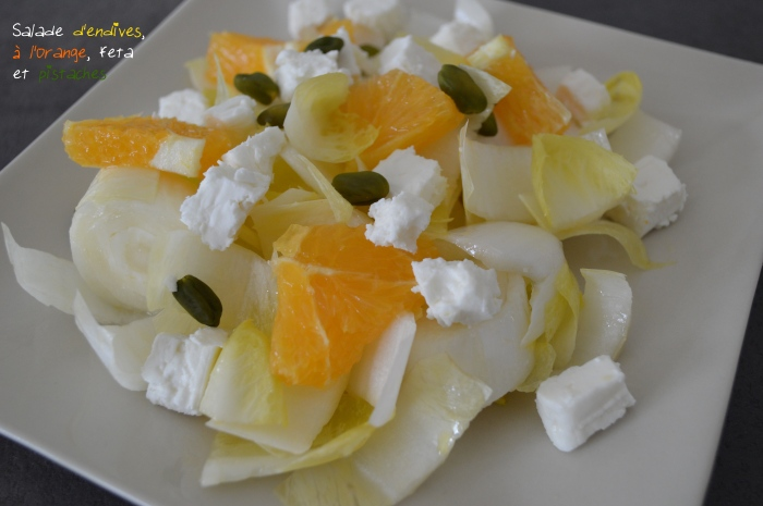 Salade d'endives à l'orange, feta et pistaches
