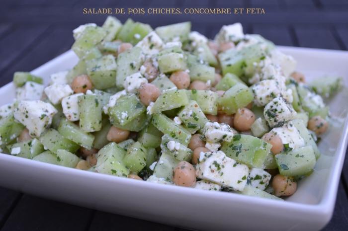 Salade de pois chiches, concombre et feta