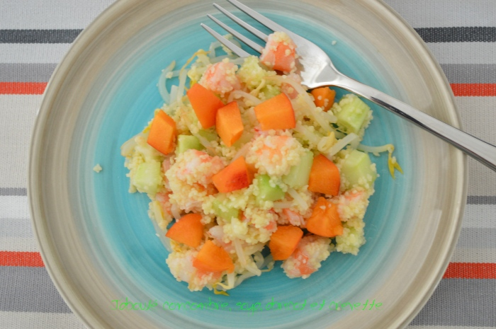Taboulé concombre, soja, abricot et crevette