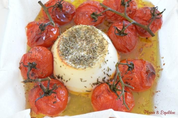 Ricotta rôtie et tomates grappes confites