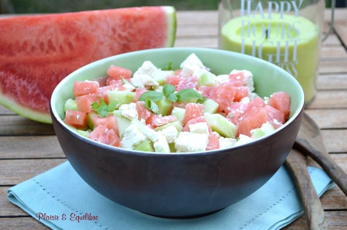 Salade de pastèque, concombre et féta