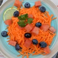 Carotte râpée à la pastèque et aux myrtilles